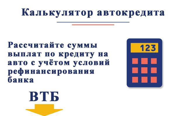 Рассчитайте примерно автокредит с учетом условий рефинансирования ВТБ при помощи онлайн калькулятора